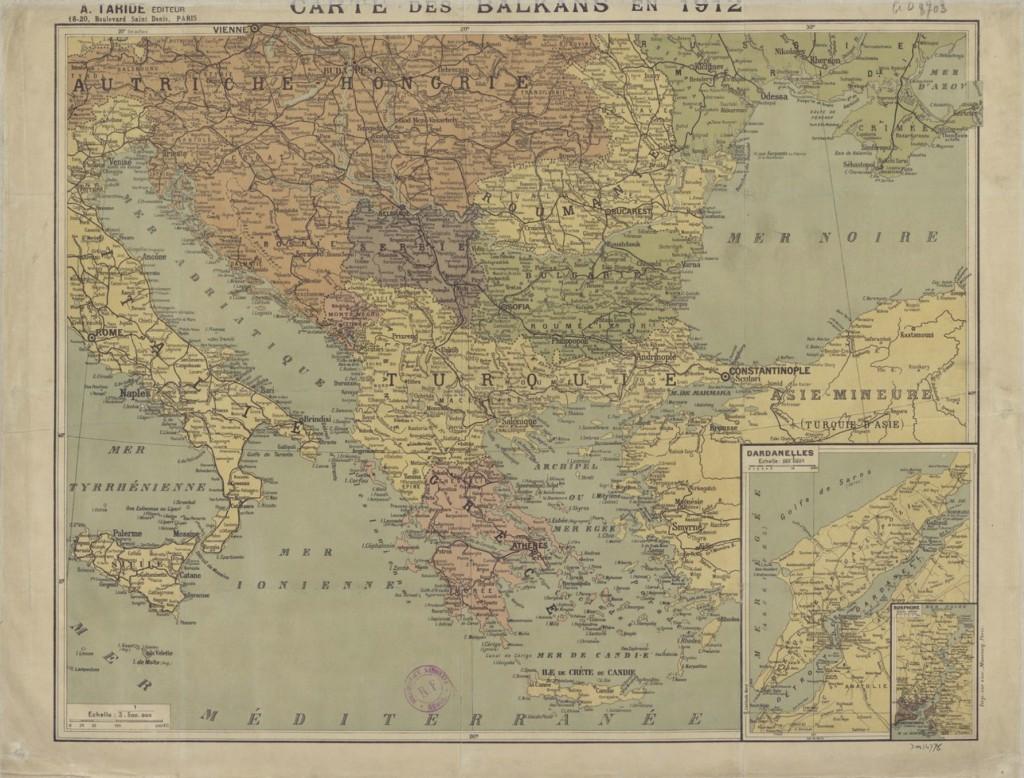 Carte des Balkans en 1912