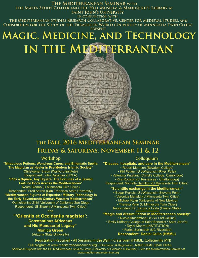 Affiche des journées d'étude «Magic, medicine, and technology in the Mediterranean »